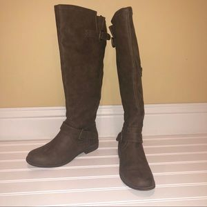 Shoe Dazzle Army Green Zipper Riding Boots